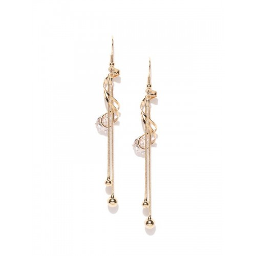 Gold Plated Contemporary AD Drop Earrings 9550