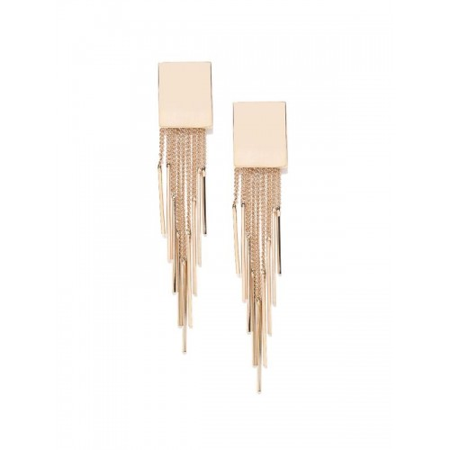 Gold Plated Shiny Chain Tassel Earrings 9552