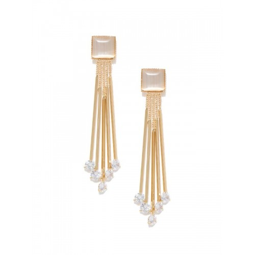 Rose Gold Plated Grey Crystal Chain Tassel Earring...