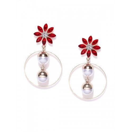 Gold Plated Floral Red Drop Earrings