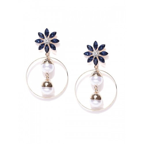 Gold Plated Floral Blue Drop Earrings