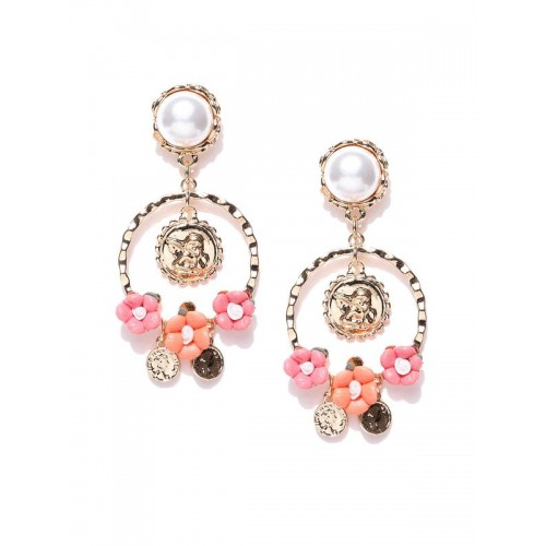 Gold Plated Handcrafted Coin Art Floral Pearl Drop...