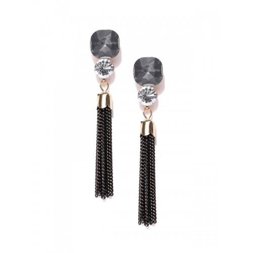 Copper Plated Black American Diamond Tassel Earrin...