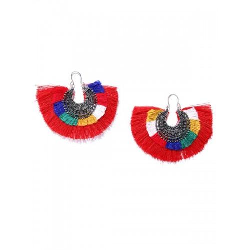 Arihant Silver Plated Multicolour Tassel Earrings