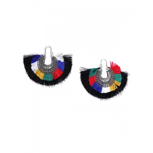 Silver Plated Contemporary Multicolor Tassel Earri...