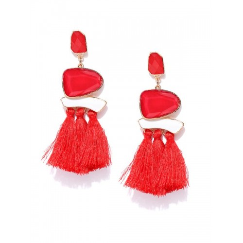 Gold Plated Onyx Red Tassel Earrings