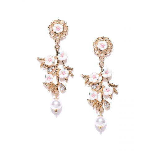 Gold Plated Floral Pink Drop Earrings