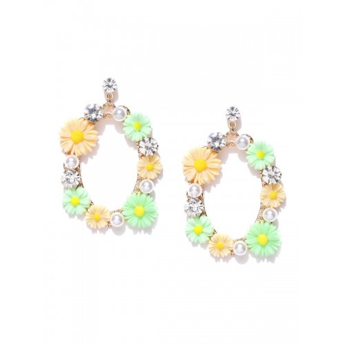 Gold Plated Floral Multicolour Drop Earrings