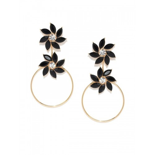 Copper Plated Black Crystal Floral Drop Earrings