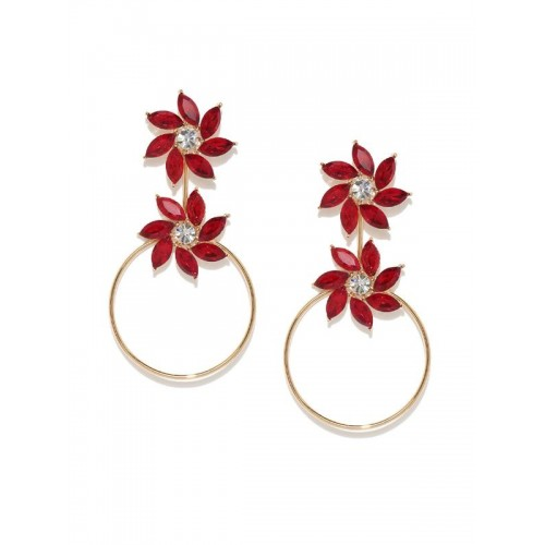 Copper Plated Red Crystal Floral Drop Earrings
