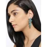 Gold Plated American Green Dangler Earrings