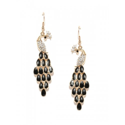 Gold Plated Contemporary AD Black Mayur Earrings