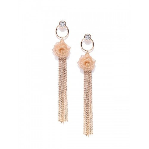 Rose Gold Plated Contemporary AD Rose Inspired Dro...
