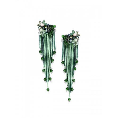 Gold Plated Designer Green Chain Tassel Earrings