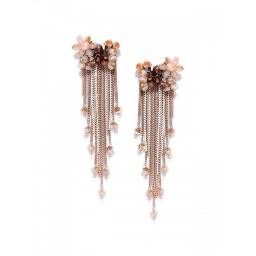 Gold Plated Designer Cream Chain Tassel Earrings