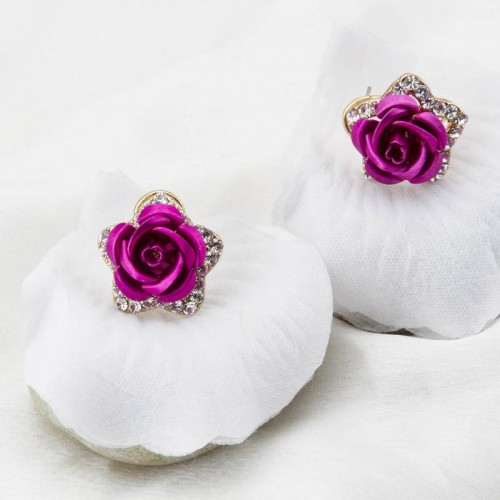 Gold Plated Darker Pink Rose Shaped Earrings