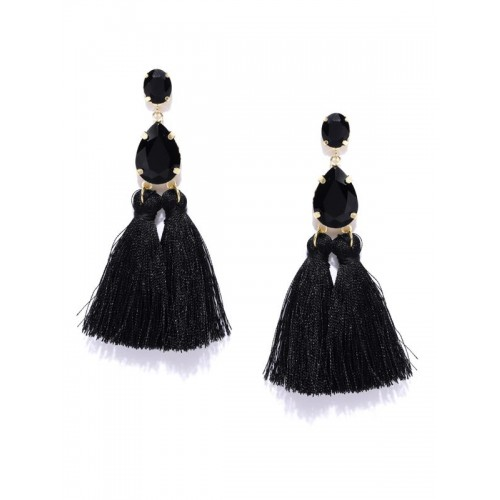Gold Plated Handcrafted Dual Stone Black Tassel Ea...