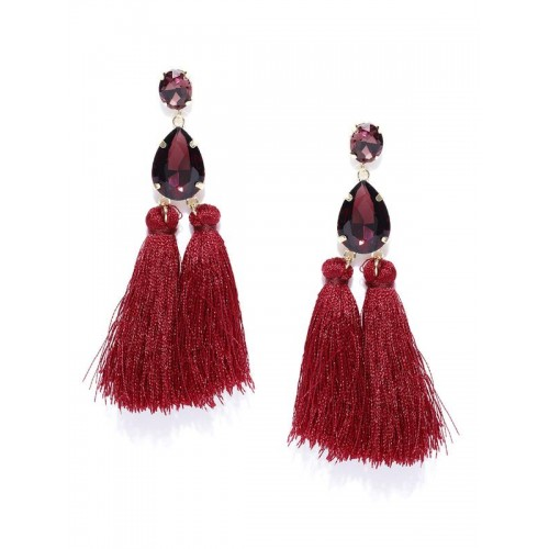 Gold Plated Handcrafted Dual Stone Magenta Tassel ...