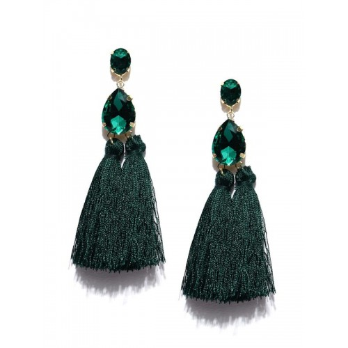 Gold Plated Handcrafted Dual Stone Green Tassel Ea...