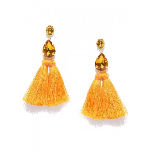 Gold Plated Handcrafted Dual Stone Yellow Tassel E...