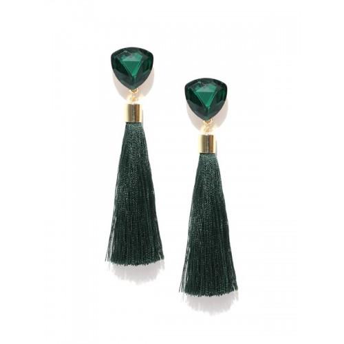 Gold Plated Designer Green Geometrical Tassel Earr...