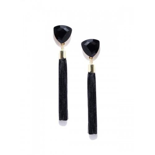 Gold Plated Designer Black Geometrical Tassel Earr...