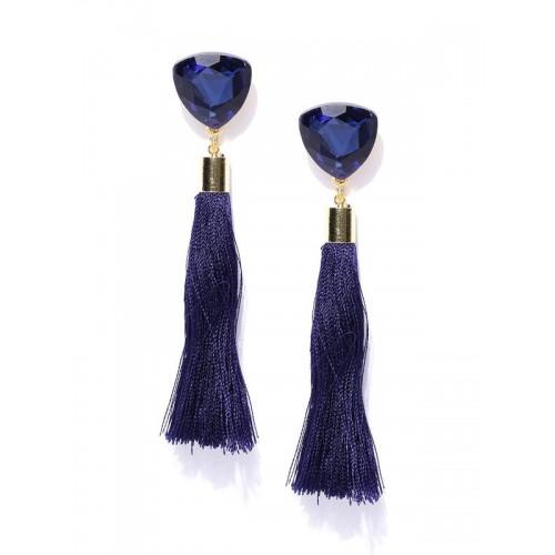 Gold Plated Designer Blue Geometrical Tassel Earri...