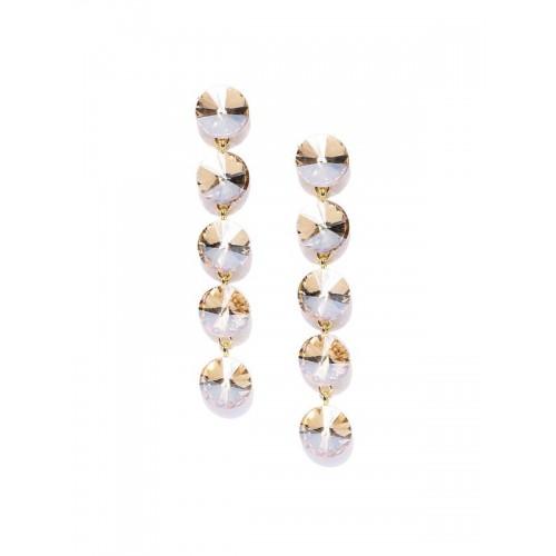 Gold Plated Geometrical Beige Long Drop Earrings