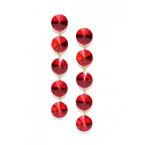 Gold Plated Geometrical Red Long Drop Earrings
