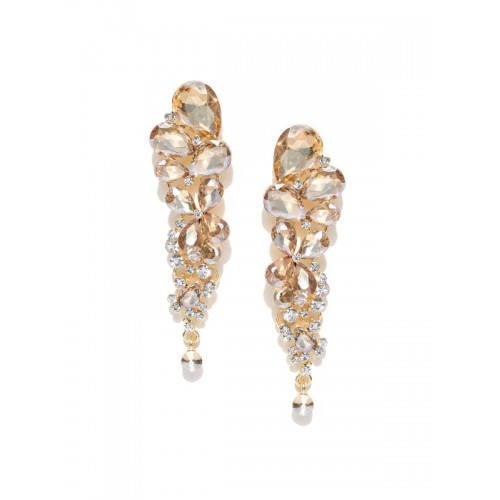 Silver Plated Handcrafted Beige Crystal AD Drop Ea...