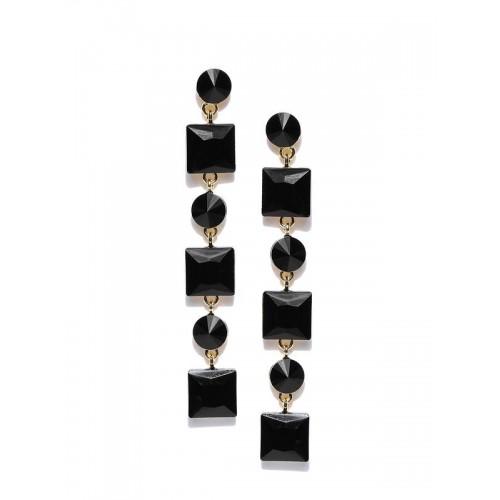 Black Gold-Plated Stone-Studded Geometric Drop Ear...