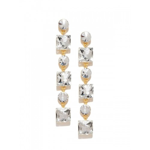 Gold-Plated Stone-Studded Geometric Drop Earrings