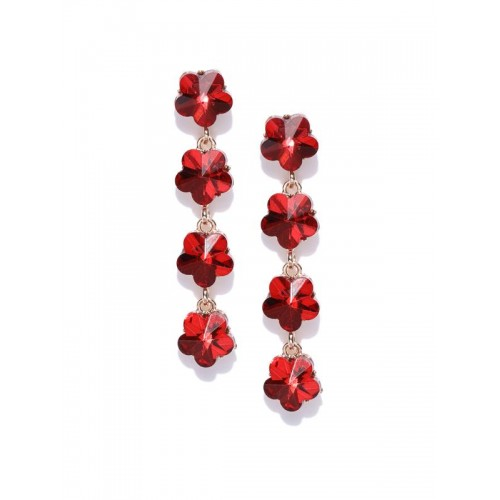 Red Gold-Plated Stone-Studded Floral Drop Earrings