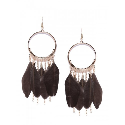 Brown Gold-Plated Feather Shaped Drop Earrings