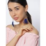 Blue Gold-Plated Circular Drop Earrings