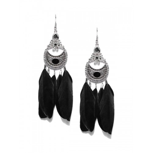 Oxidised Silver-Plated & Black Feather Shaped ...