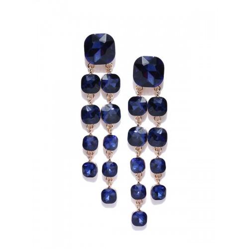 Navy Blue Gold-Plated Geometric Drop Earrings