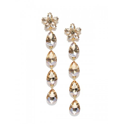 Gold-Plated Stone-Studded Teardrop Shaped Drop Ear...