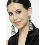 Arihant Designer Jewellery Gunmetal-Toned & Off-White Rhodium-Plated Handcrafted Jhumkas 64022