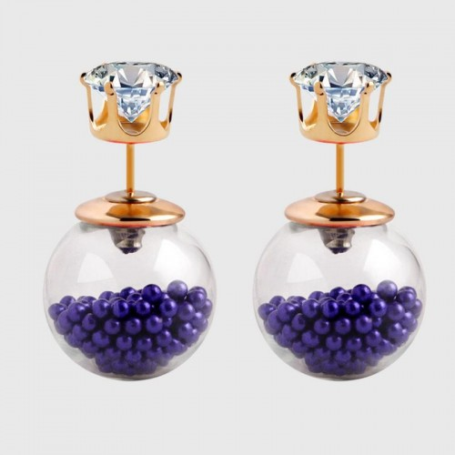 Arihant GP Violet Glass Stud Earrings