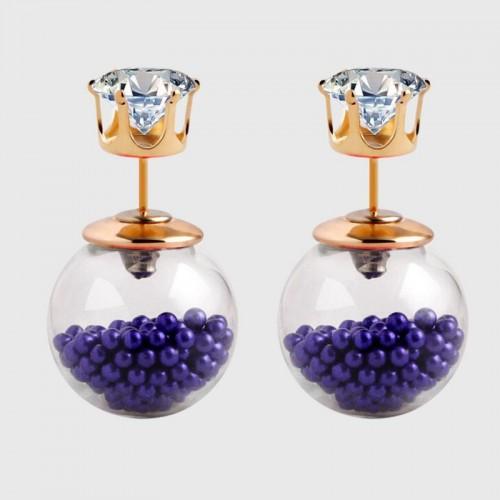 Arihant GP Violet Glass Stud Earrings 224