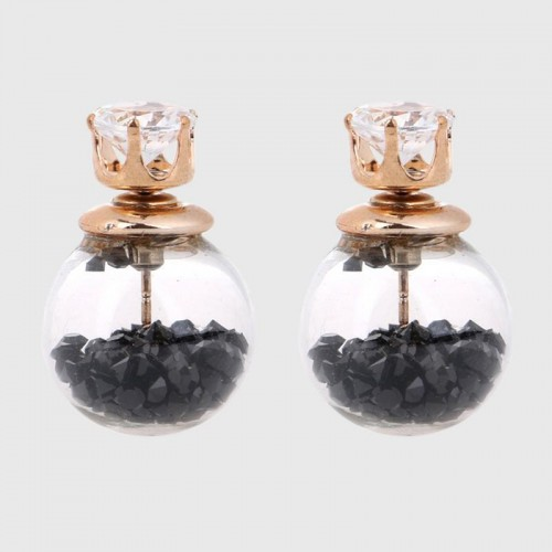 Arihant GP Black Glass Stud Earrings
