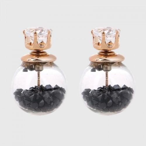 Arihant GP Black Glass Stud Earrings 225