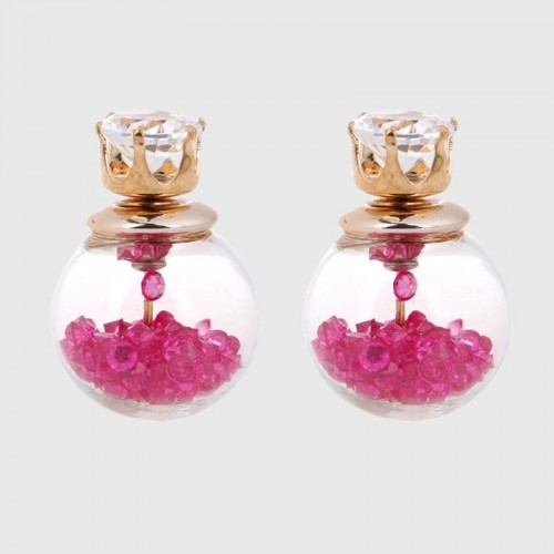 Arihant GP Pink Glass Stud Earrings
