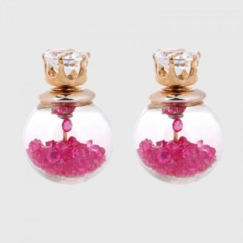 Arihant GP Pink Glass Stud Earrings 226