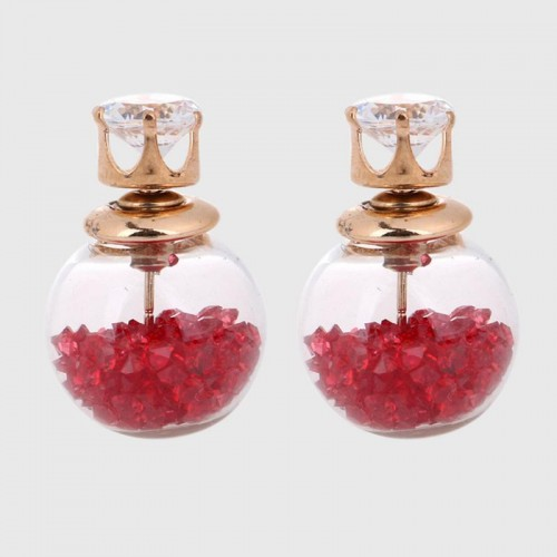 Arihant GP Red Glass Stud Earrings