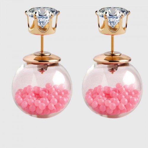 Arihant GP Light Pink Glass Stud Earrings 232
