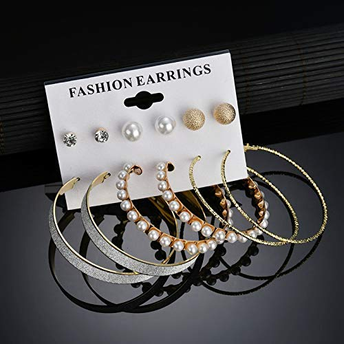 Arihant Amazing AAA AD & Pearl Swanky 6 Pair of Stud & Hoop Earrings For Women/Girls PC-ERG-142