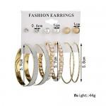 Arihant Amazing AAA AD & Pearl Swanky 6 Pair of Stud & Hoop Earrings For Women/Girls PC-ERG-142