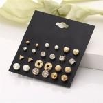 Arihant Glitzy AAA AD Heart Round and Geometric Plushy 12 Pair of Stud Earrings For Women/Girls PC-ERG-149